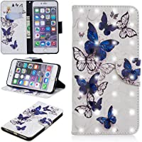 for iPhone 6 Plus/6S Plus Wallet Case and Screen Protector,QFFUN Glitter 3D Pattern Design [Butterfly] Magnetic Stand…