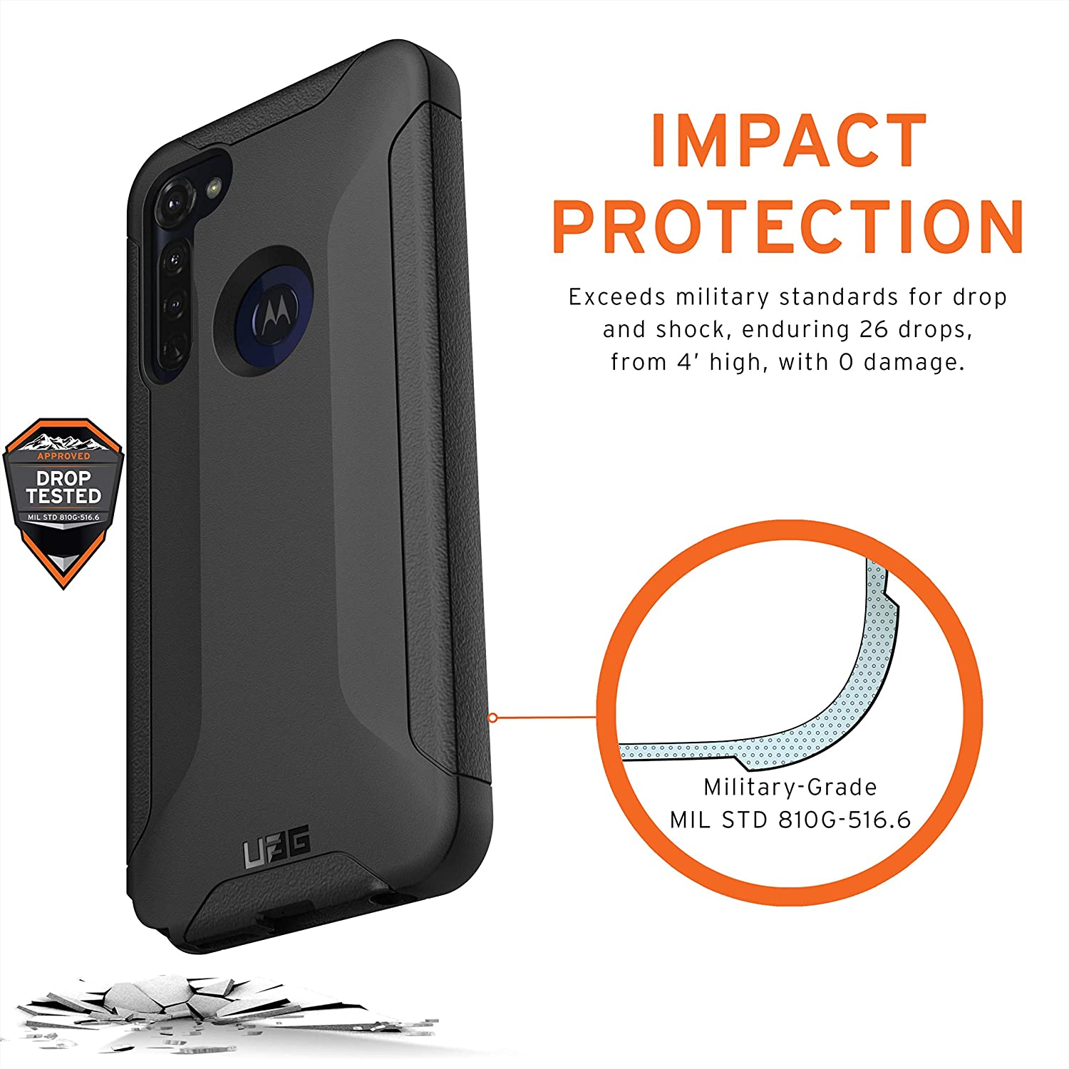 Black URBAN ARMOR GEAR UAG Designed for Moto G Stylus//Moto G8 Stylus Case Scout Rugged Sleek Shockproof Lightweight Military Drop Tested Protective Cover