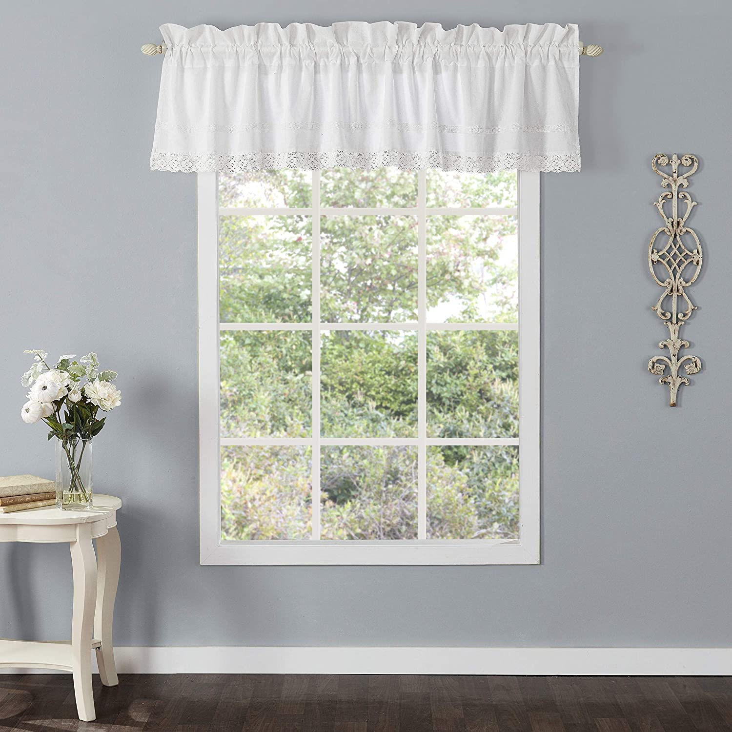 Laura Ashley Home | Annabella Bedding Collection | Stylish Premium Hotel Quality Valance Curtain, Chic Decorative Window Treatment for Home Décor, White