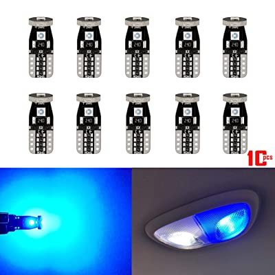AKKI 10Pcs 194 T10 158 Wedge for Car Interior Dome Map Door License Plate Light, 12V Super Bright 3-3030 SMD, 168 2825 W5W 12961 LED Bulb Canbus Error Free Non Polarity, Bule: Automotive
