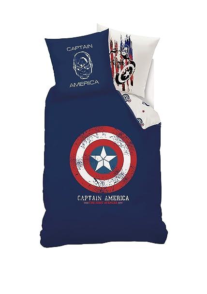 prima qualità acquisto economico economico per lo sconto Disney Captain America Parure da Letto Copripiumino + Federa per Cuscino,  Cotone, Blu, 140 x 200 x 1 cm