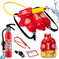Born Toys 5 Piece Premium Firefighter Water Gun Toy Set and fire Toy Extinguisher. for Fireman Costume, Outdoors, Pools…