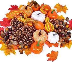 Lvydec 220pcs Artificial Harvest Pumpkins Decoration Set, Assorted Maple Leaves Mini Pumpkins Gourds Pine Cones and Acorns for Halloween Thanksgiving Autumn Festive Party Supplies