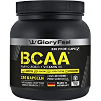 BCAA 330 Kapseln - Der VERGLEICHSSIEGER 2019*- Essentielle Aminosäuren Leucin, Valin und Isoleucin Plus Vitamin B6 - Laborgeprüft und ohne unerwünschte Zusätze hergestellt in Deutschland