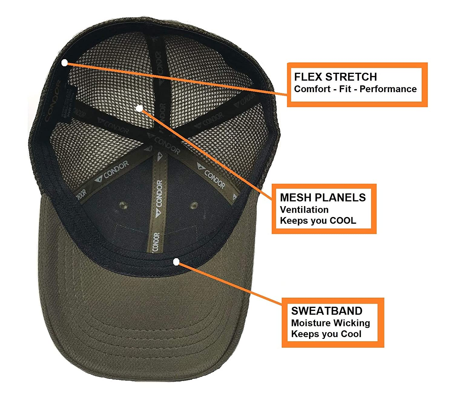 Highly Breathable Fitted Tactical Operator Hat + PVC Flag /& Warrior Patch OD Green Active Duty Gear Condor Flex Mesh Cap