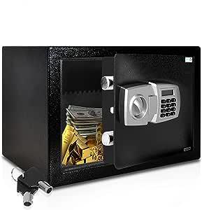 SereneLife Drop Box Safe Box | Safes & Lock Boxes | Front Loading Safe Cash Vault Drop Lock | Safe Security Box | Digital Safe Box | Money Safe Box Steel Alloy Drop Safe Includes Keys (SLSFE348)