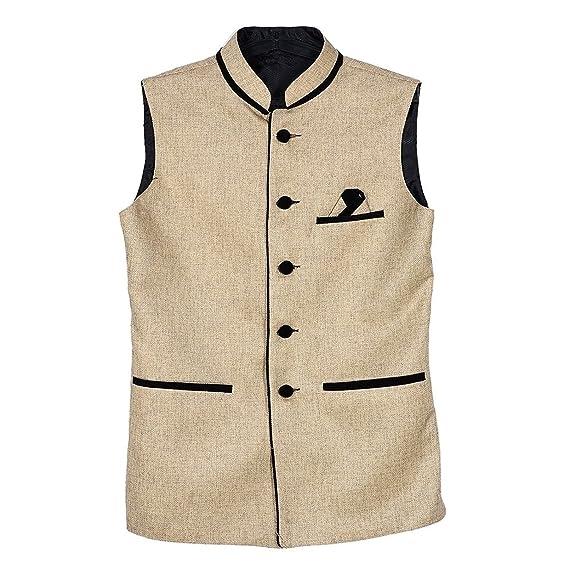 BIS Creations Men's Solid Golden Waistcoat Men's Suits & Blazers at amazon