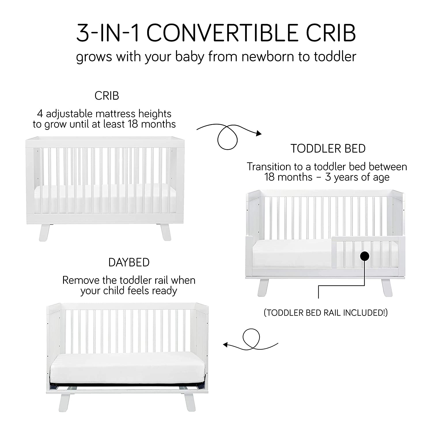 Babyletto convertible crib - converts from crib into toddler bed