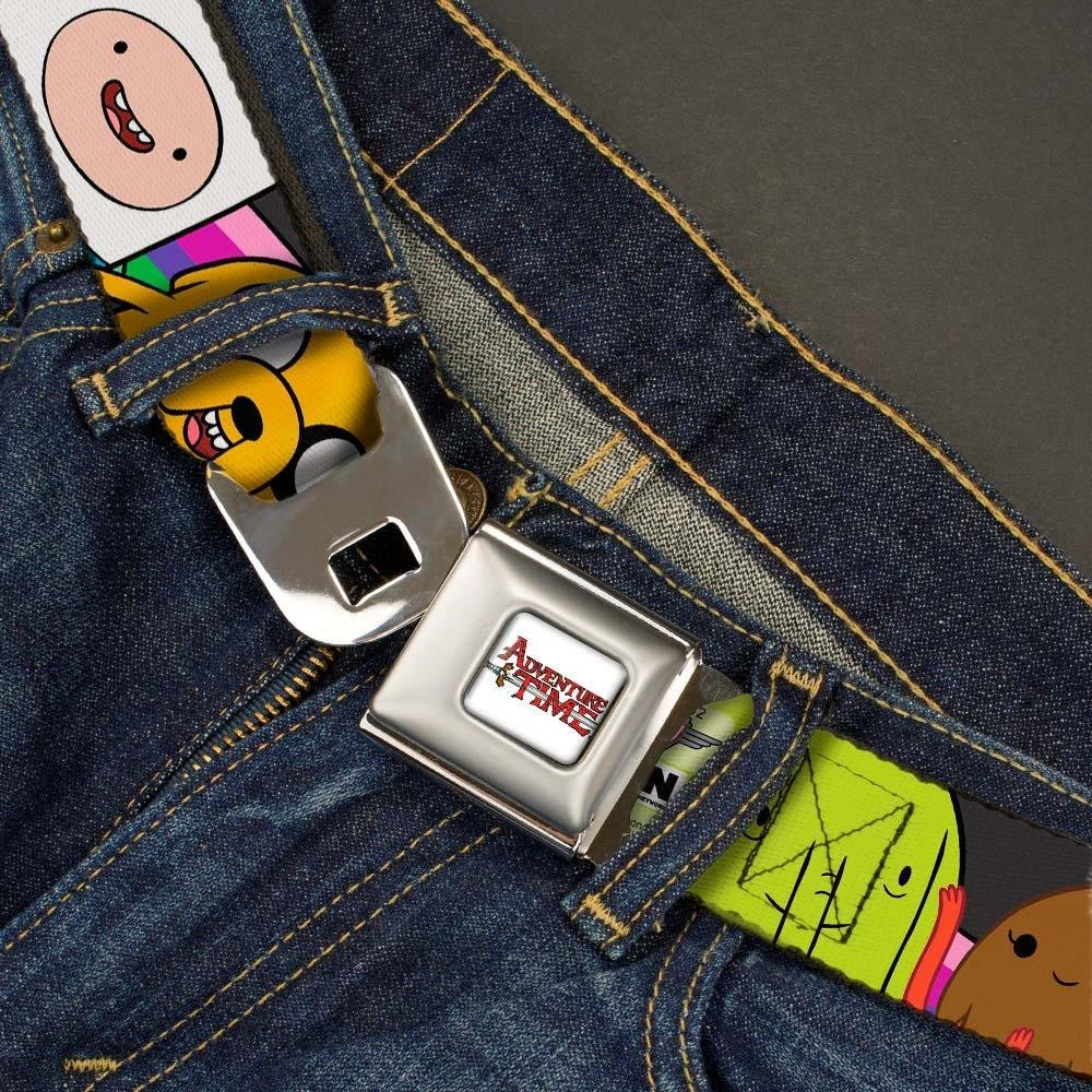 24-38 Inches in Length Buckle-Down Seatbelt Belt 1.5 Wide Adventure Time Characters3 Black