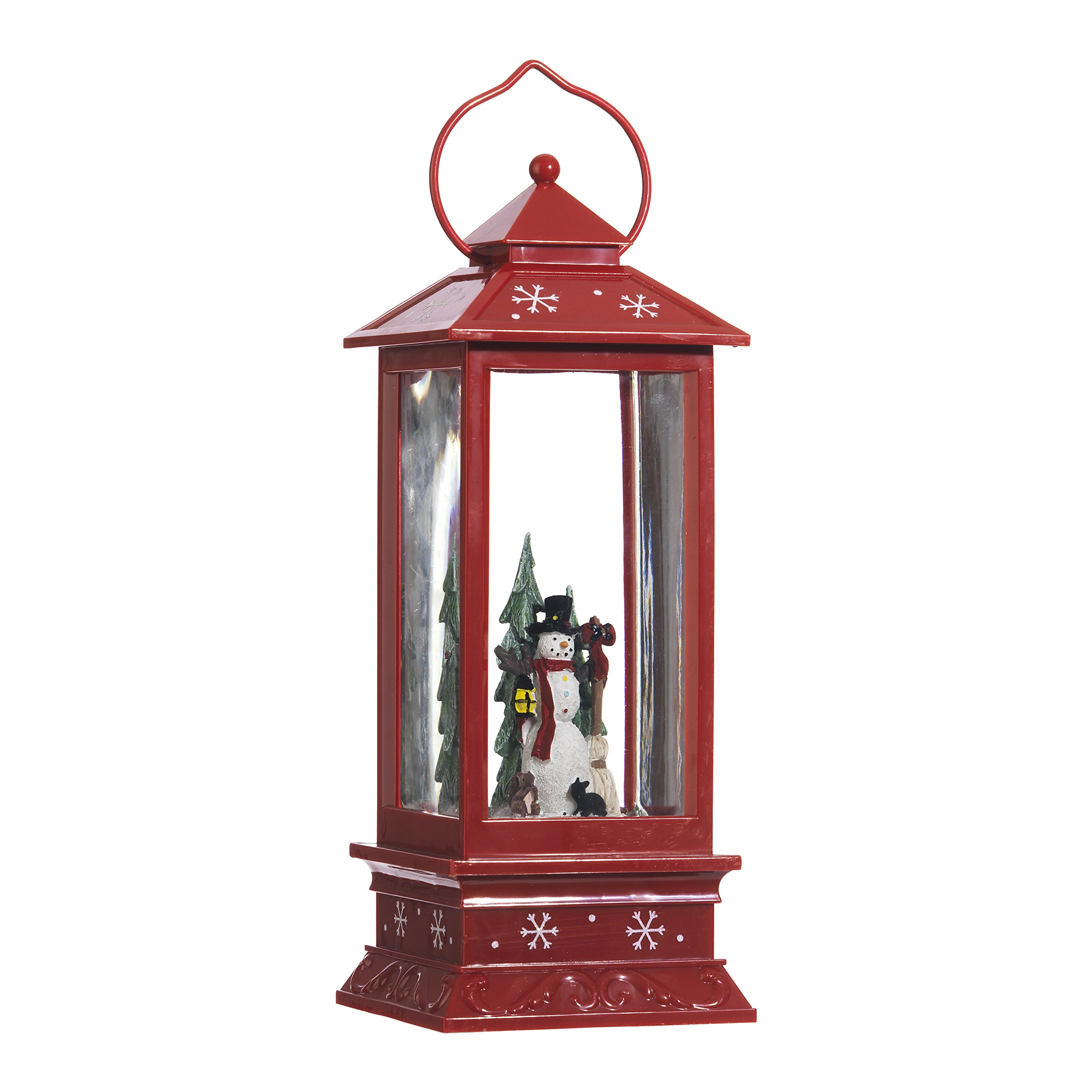 Lighted Snow Globe Lantern: 11 Inch, Red Holiday Water Lantern by RAZ Imports (Snowman)