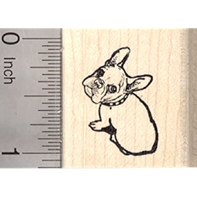 French Bulldog Rubber Stamp, Looking Up, Small: Arts, Crafts & Sewing