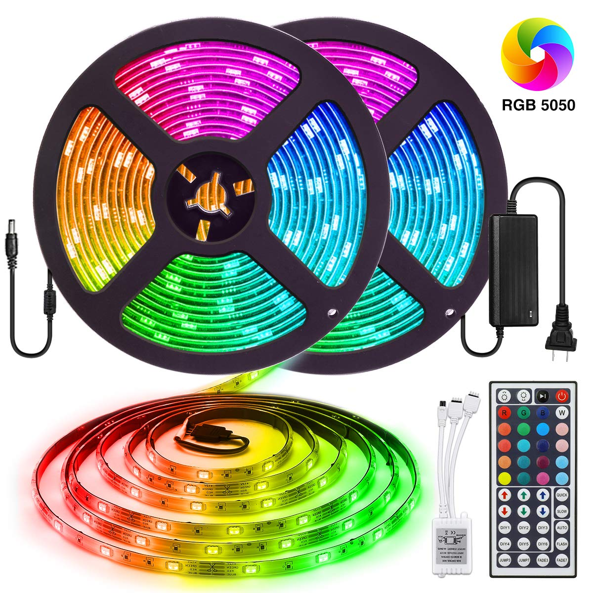 Elfeland LED Strip Lights 32.8FT/10M 300 LEDs SMD5050 RGB Strip Lights IP65 Waterproof Rope Lights Color Changing Flexible Tape Light Kit with 44 Keys IR Remote Controller & 12V 5A Power Supply