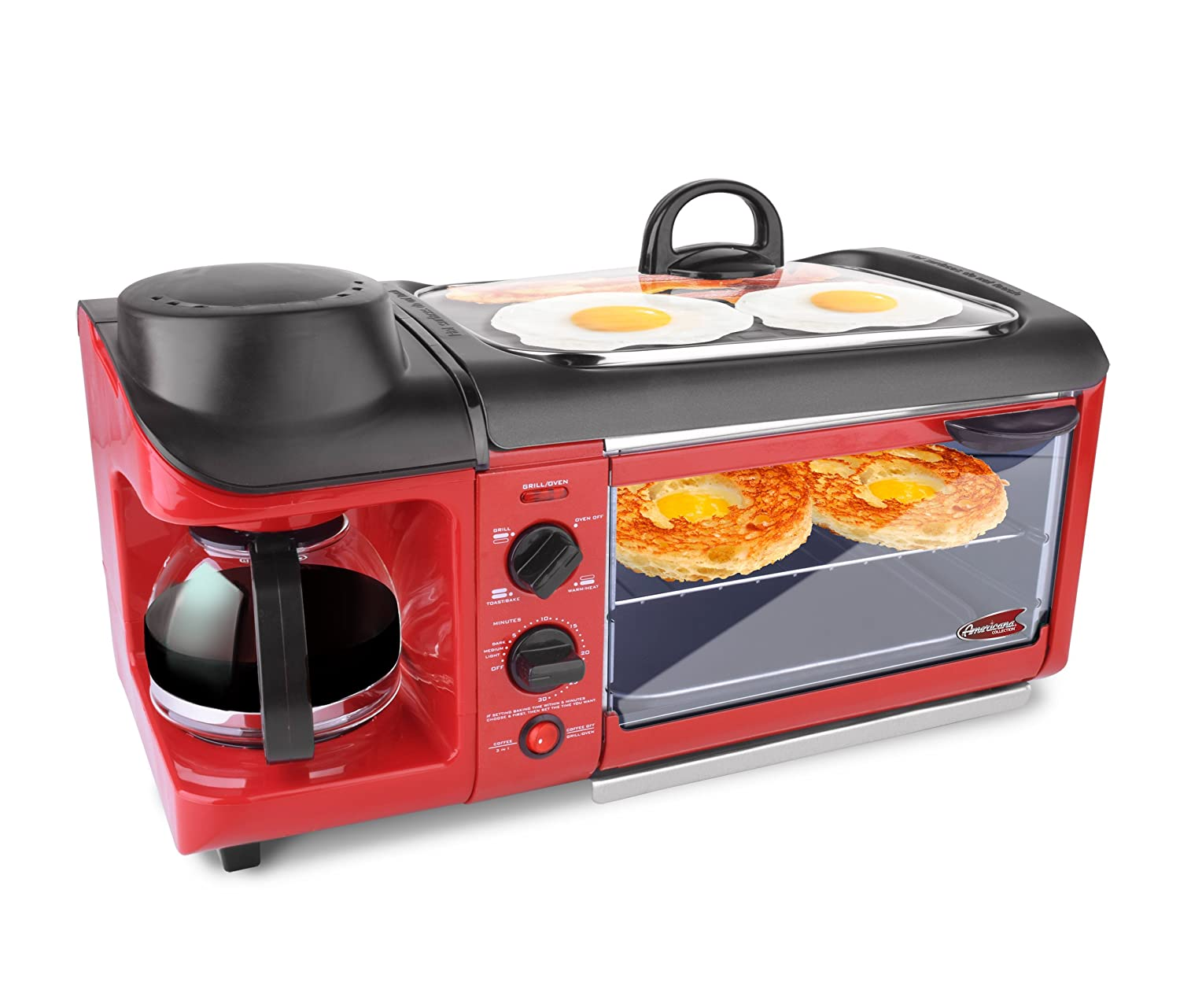 Elite EBK-1782R Maxi-Matic 3-in-1 Deluxe Breakfast Station, Red
