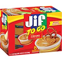 Jif To Go Creamy Peanut Butter, 8-1.5 Ounce Cups, 7g (7% DV) of Protein per Serving, Smooth and Creamy Texture, Snack Size Packs