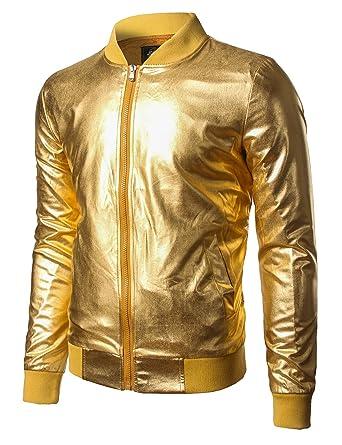 32eb6f36853 JOGAL Mens Metallic Nightclub Styles Zip Up Varsity Baseball Bomber Jacket  Small Gold