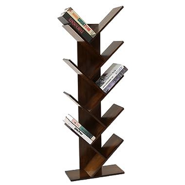 UNICOO - Bamboo 9-Shelf Tree Bookcase, Special Design Bookshelf, Display Storage Rack for CDs, Movies & Books. (Antique Brown - 9TB)