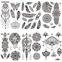 Ooopsi 8 Sheets Black Henna Temporary Tattoo Stickers - Sexy Feather Mandala Flower...