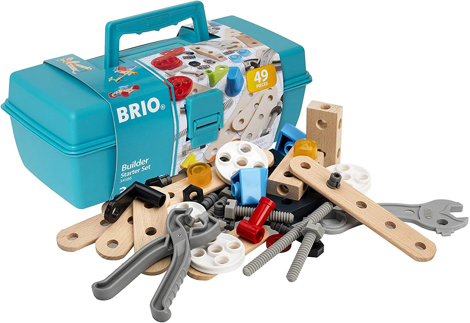 BRIO Builder 34586 - Builder Starter Set - 49 Piece Building Set STEM Toy with Wood and Plastic Pieces for Kids Age 3 and Up
