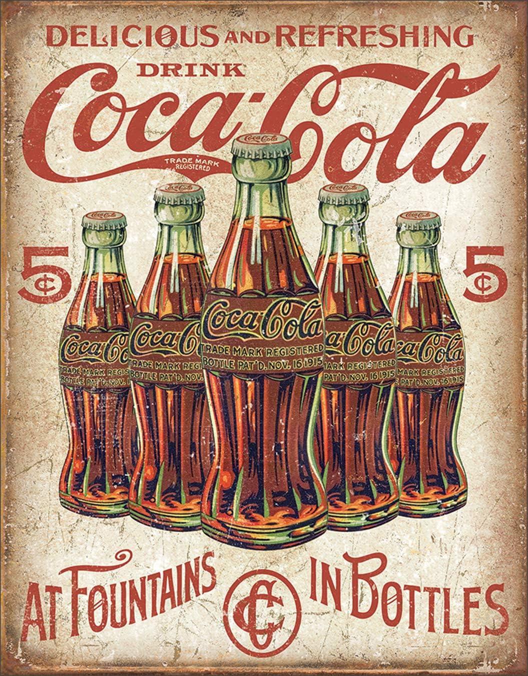 Coca-Cola Coke 1915 Bottle Vintage Look Tin Sign Kitchen