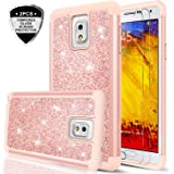 Galaxy Note 3 Glitter Case with Tempered Glass Protector [2 Pack],LeYi Cute Girls Women Design [PC Silicone Leather] Dual Layer Heavy Duty Protective Phone Case for Samsung Galaxy Note 3 TP Rose Gold
