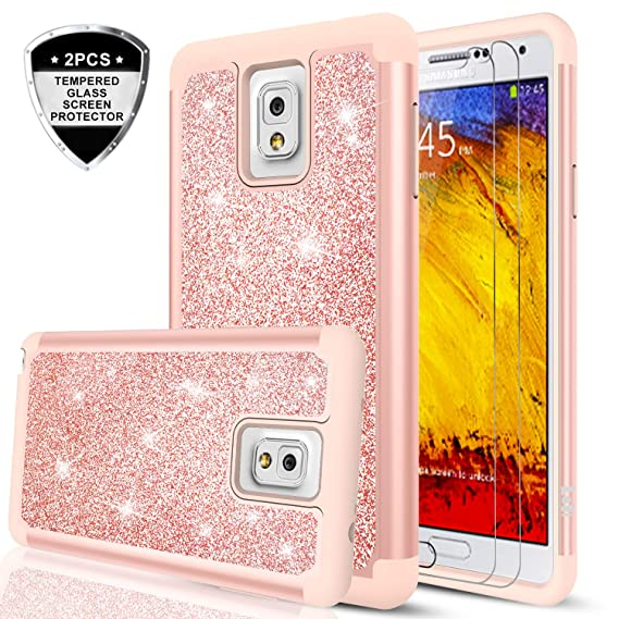 the latest 9d4bb a7ee6 Galaxy Note 3 Glitter Case with Tempered Glass Screen Protector [2 Pack],  LeYi Girls Women [PC Silicone Leather] Dual Layer Heavy Duty Protective ...