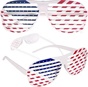 American Flag USA Patriotic Shutter Shades Sunglasses - 12 Pairs Fourth of July Party Favors Patriotic Decorations Red White and Blue Glasses 12 Pack