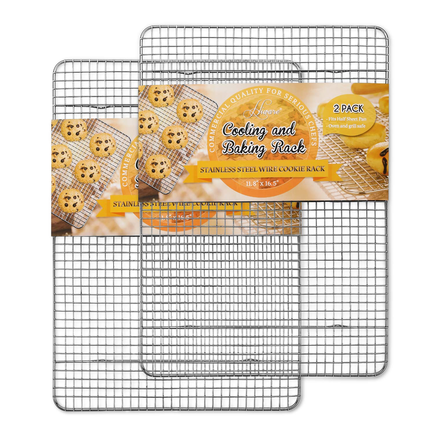Hiware 2-Pack Cooling Racks for Baking - 11.8'' x 16.5'' - Stainless Steel Wire Cookie Rack Fits Half Sheet Pan, Oven Safe for Cooking, Roasting, Grilling