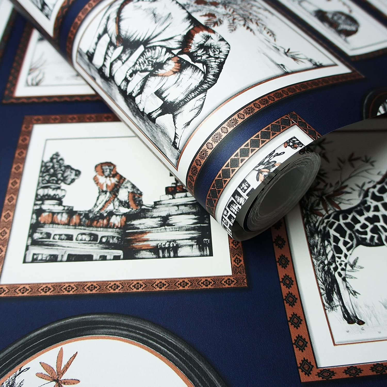 Wild Animals Holden Decor Glasshouse Safari Frames Navy Wallpaper 90072