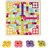 OMOTIYA Flying Chess for Happy Farm, Wooden Board Game for Kids Toddlers and Family Age 3 and up for 2 - 4 Players, Boys and