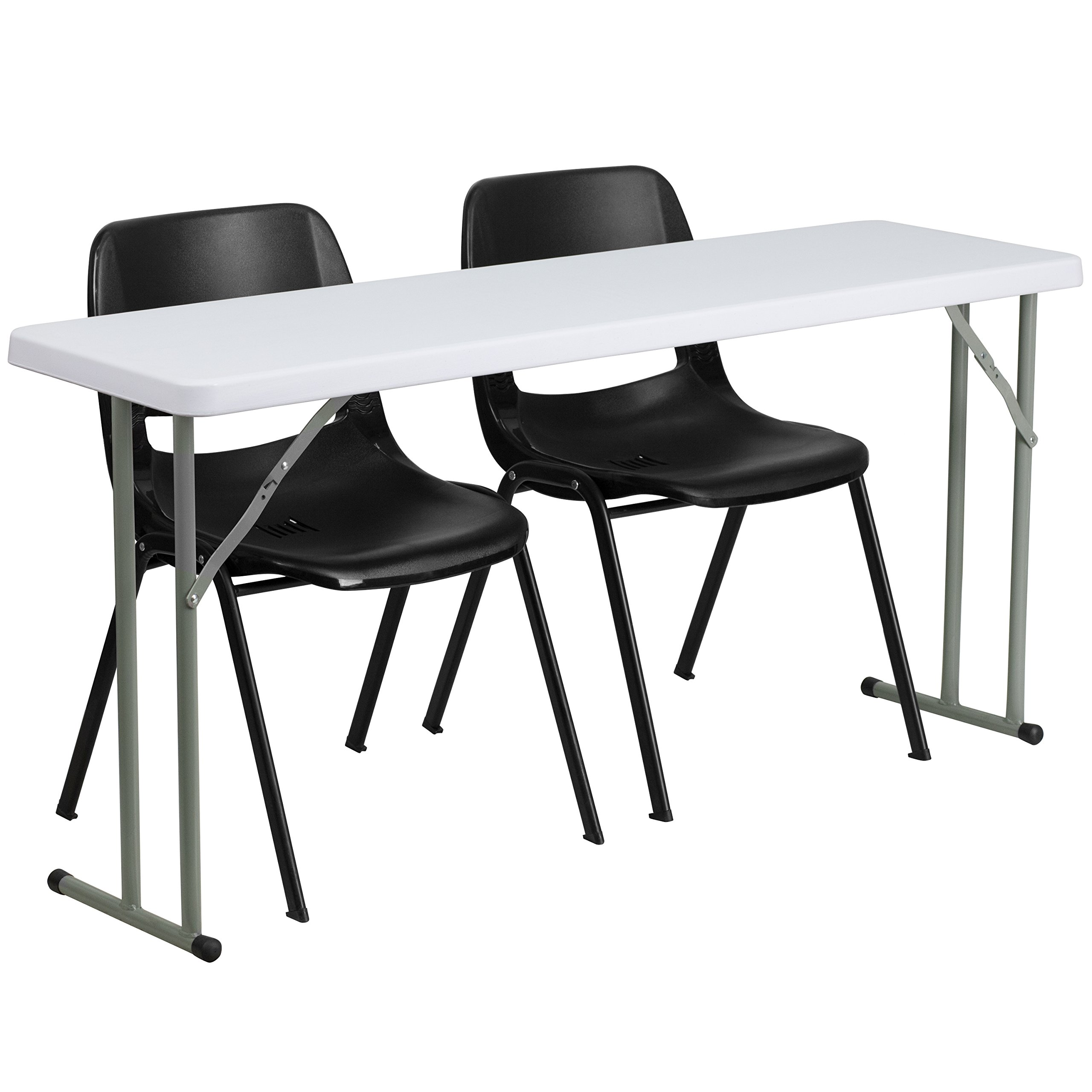 Flash Furniture 18'' x 60'' Plastic Folding Training Table Set with 2 Black Plastic Stack Chairs