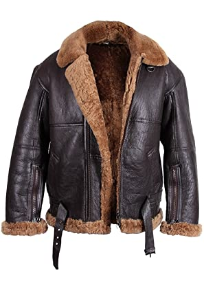 Real Flying Shearling Sheepskin Aviator Mens Jacket Leather Bomber fxpqH7SwZ