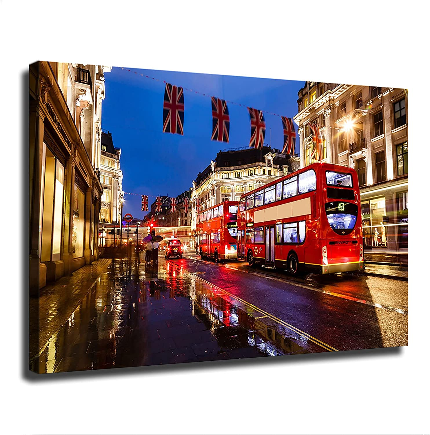 Street View of London Poster Picture Art Print Canvas Wall Art Home Living Room Bedroom Decor Mural (20×30inch-No Framed)