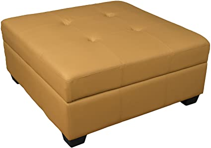 Pleasing Leather Look Upholstered Tufted Padded Hinged Square Storage Ottoman Bench 36 Buckskin Customarchery Wood Chair Design Ideas Customarcherynet