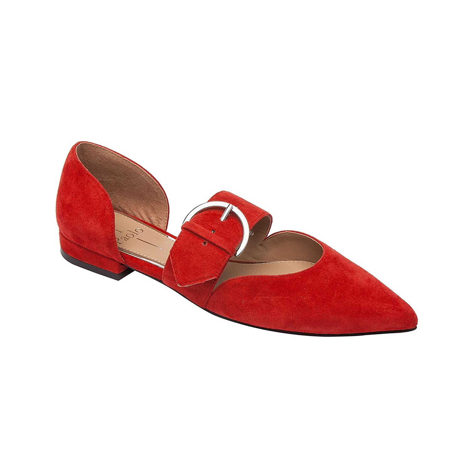 Dean | Women's Two Piece Pointy Toe Comfortable Leather or Suede Ballet Flat B07DM9J4WM 7 M US|Red Suede