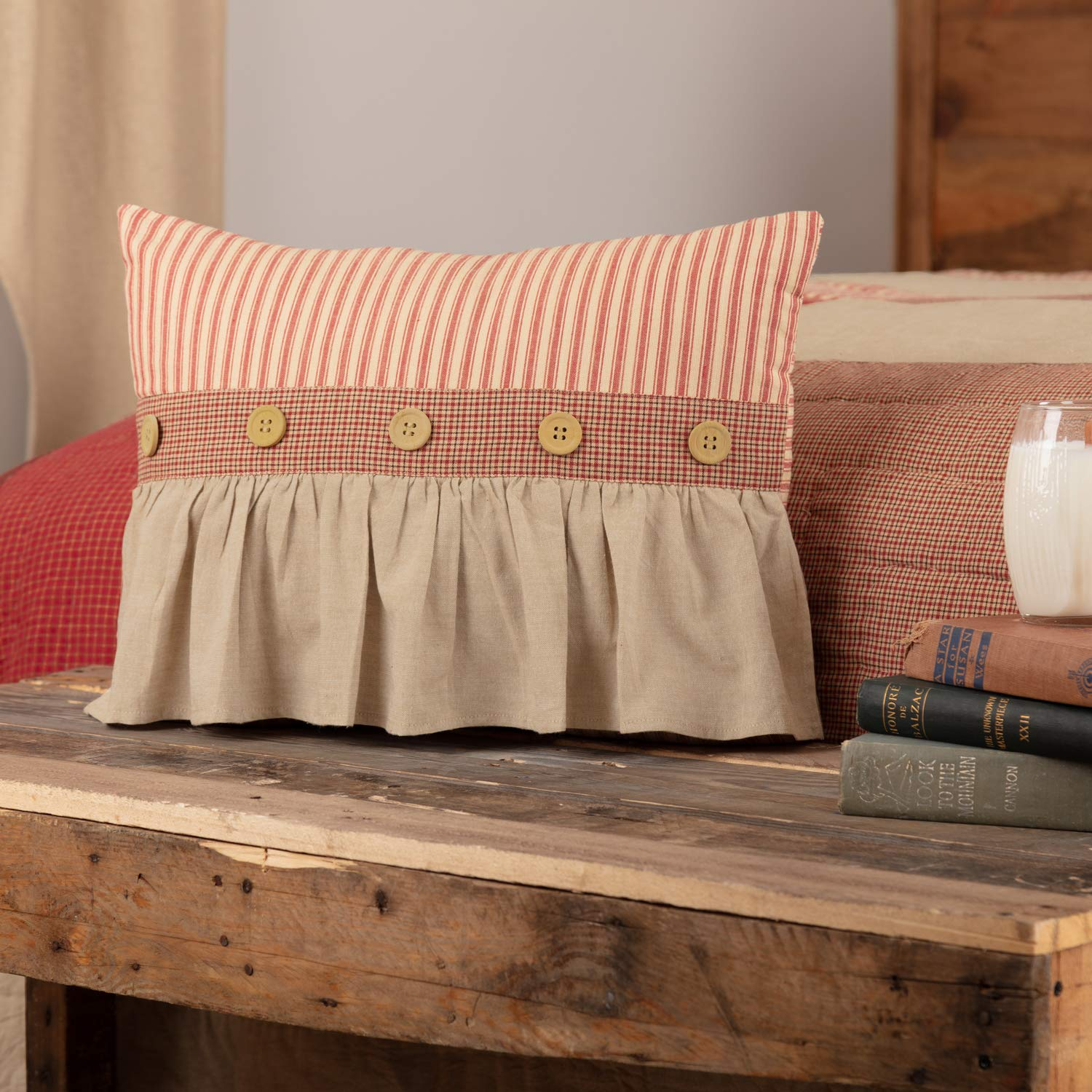 VHC Brands Farmhouse Bedding Rory Schoolhouse Red Cotton Buttons Chambray Striped Rectangle Cover Insert Pillow Brick