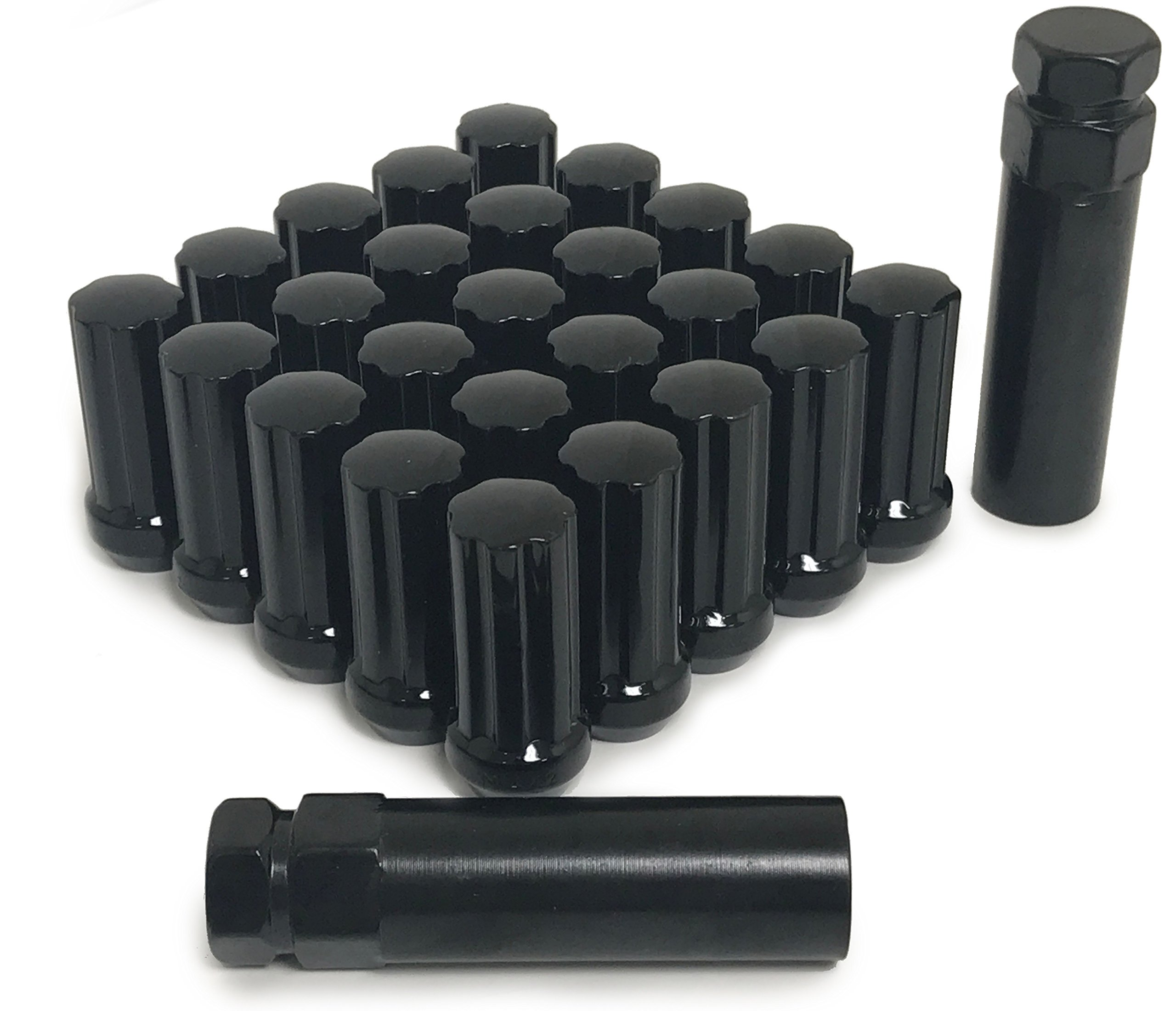 20 BLACK SPLINE LUG NUTS | 14X1.5 | 2 KEYS!