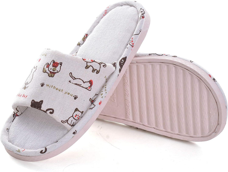 Dear Time Cotton Flax House Slippers Women's Foams Sole Cozy Slide Shoes