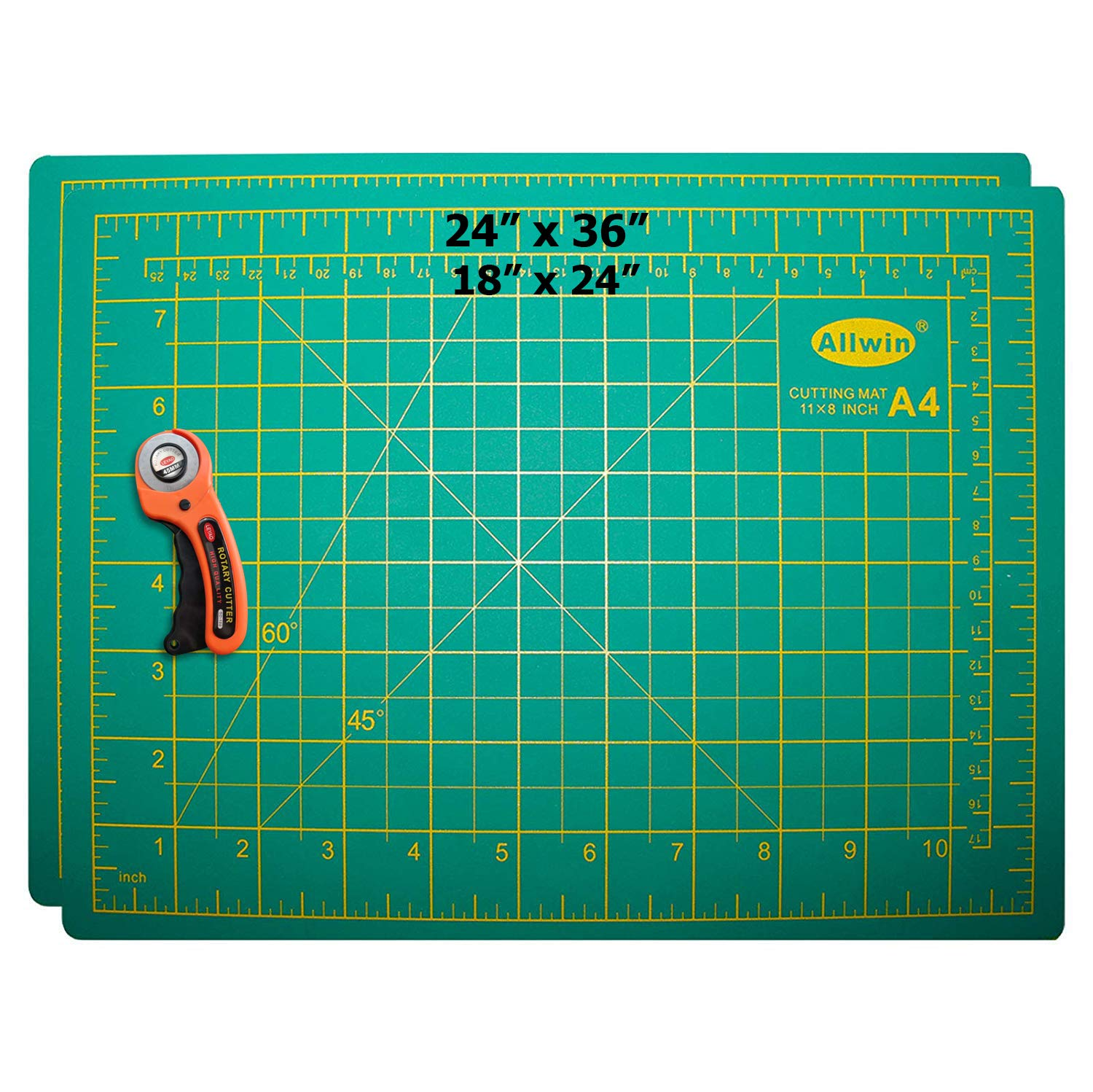 Zoraa Self-Healing Cutting Mats w/Rotary Cutter (3-Piece Set) Small(18''x24'') and Large(24''x36'') Grid Pads for Vinyl, Paper, Cardstock, Fabric   Art, Hobby, and DIY Projects   Rotating Style