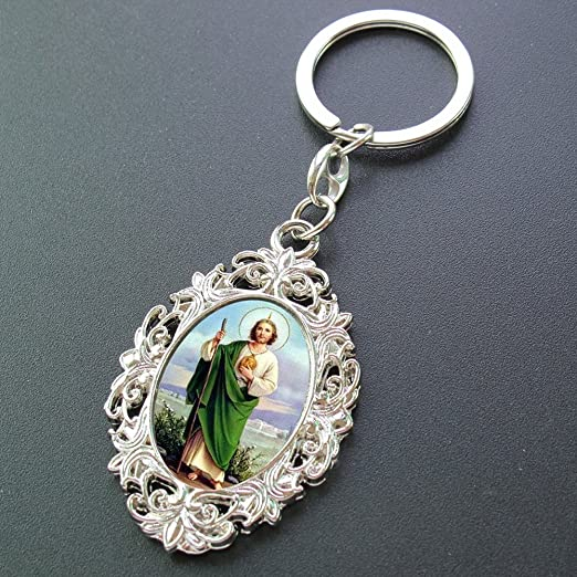 Personalized Memorial Keychain 12PCS - St. Jude Remembrance Key Ring/First Communion Favor/Baptism Party Favor