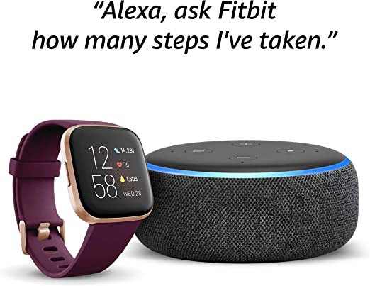 Echo Dot (3rd Gen) - Smart speaker with Alexa - Charcoal Fabric + Fitbit Versa 2 Health & Fitness Smartwatch Bordeaux