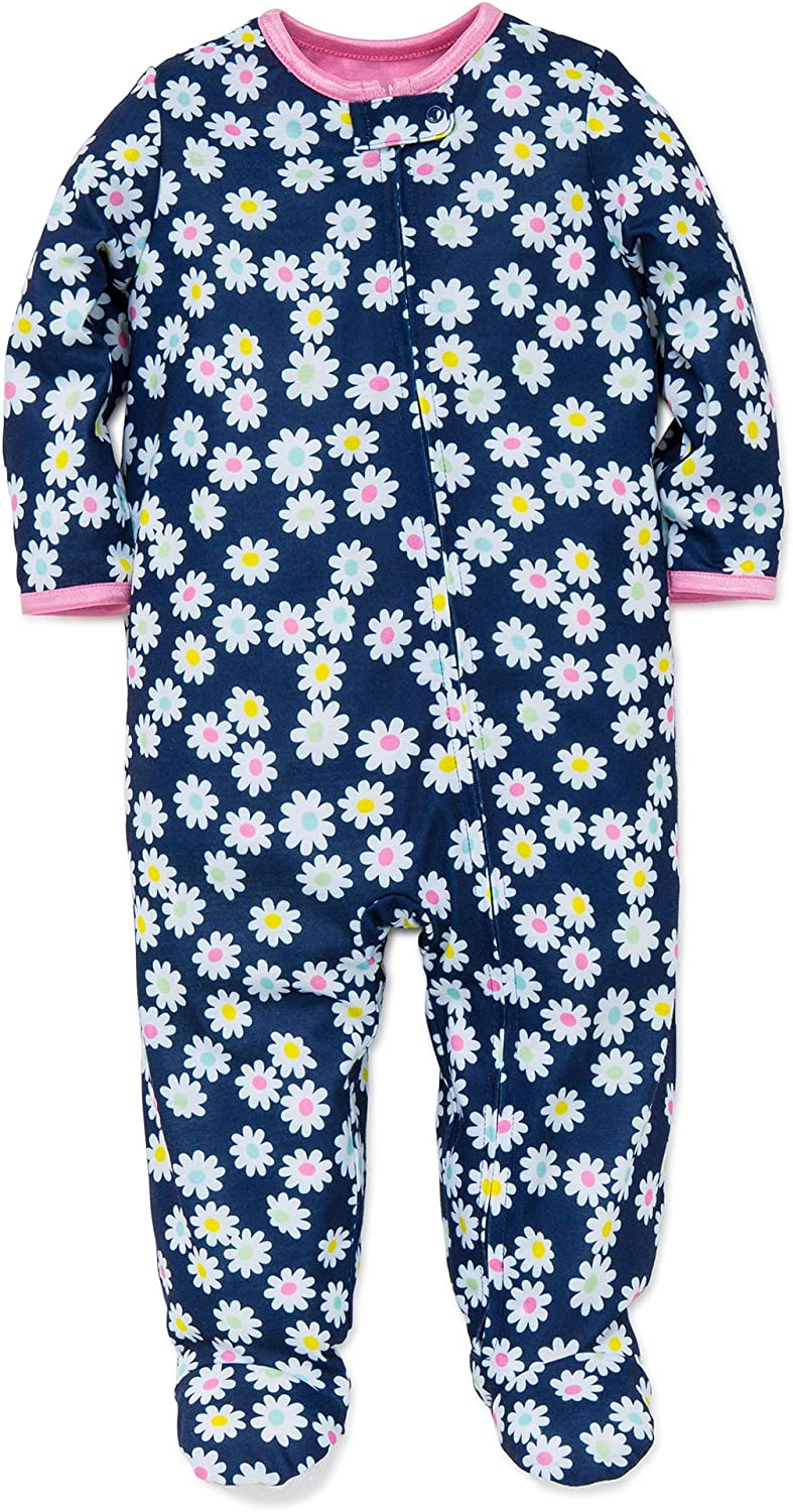 Little Me Baby Girls Light-Weight Soft Zipper Footie Pajamas Footed Sleeper 12-24 mths