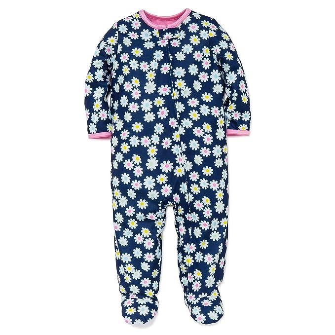 Amazon.com: Little Me Bebé Niñas Daisy Flower Soft Zipper ...