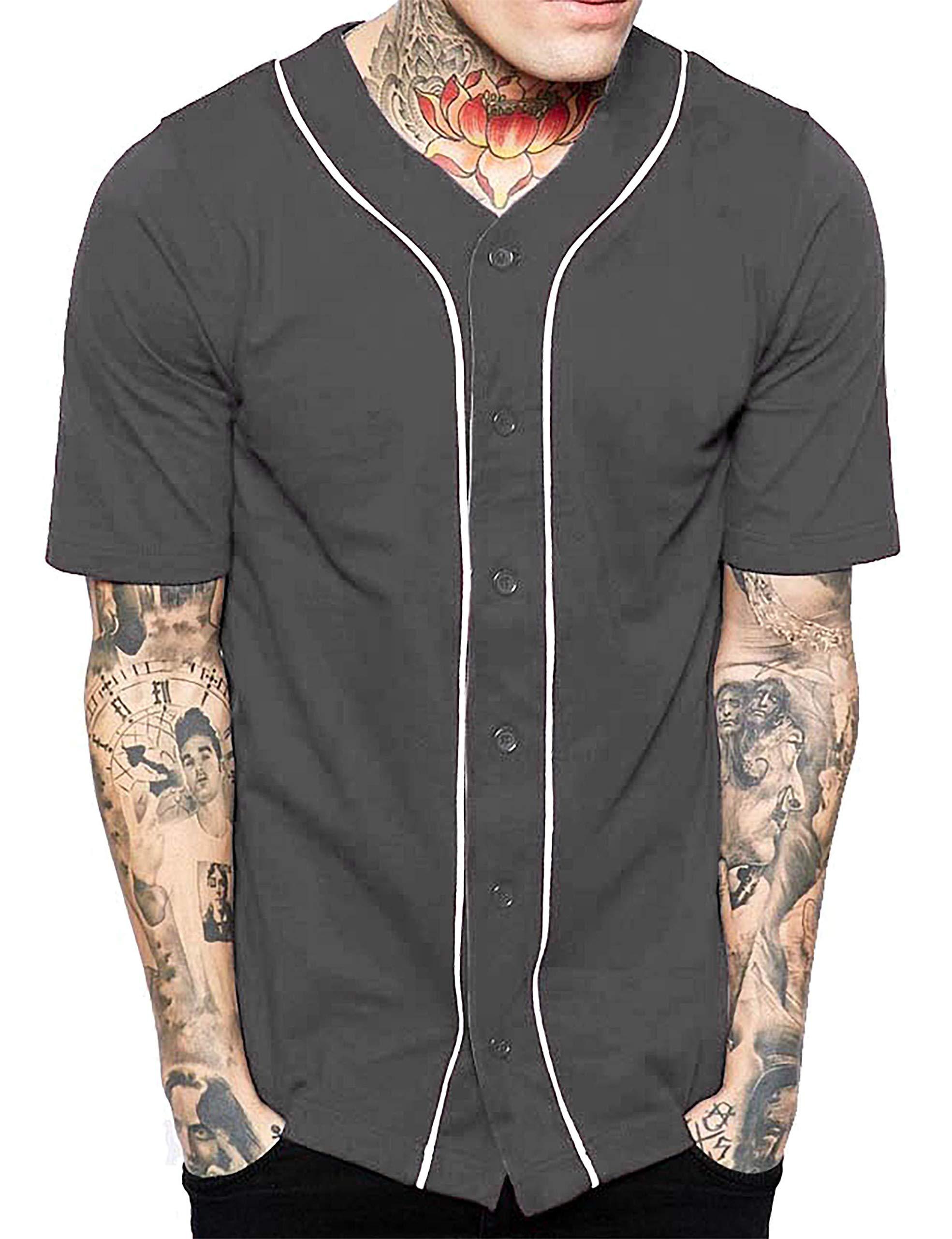 Hat and Beyond Mens Baseball Button Down Jersey Hipster Hip Hop T Shirts 1UPA01 (Dark Gray/White, Medium)