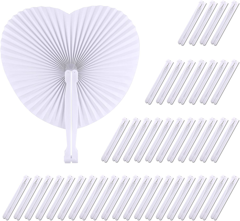 TUPARKA 60 Pack en Forma de corazón abanicos de Papel Plegables Mano de la Boda Hold Ventiladores de Papel para la decoración del Banquete de Boda (Blanco)