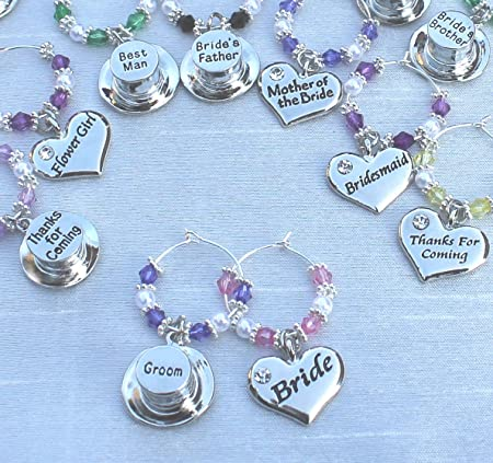 Personalised Wedding Wine Glass Charms Favours Mother Of The Bride