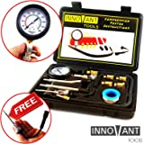 INNOVANT 10 Piece blk Set Complete Deluxe Gas Fuel Engine Automotive Compression Test Kit w/ Inline Spark Plug Tester- Detects Leakage Up To 300 Psi (21 Bar) Quickly Diagnose Internal Leaking Problems