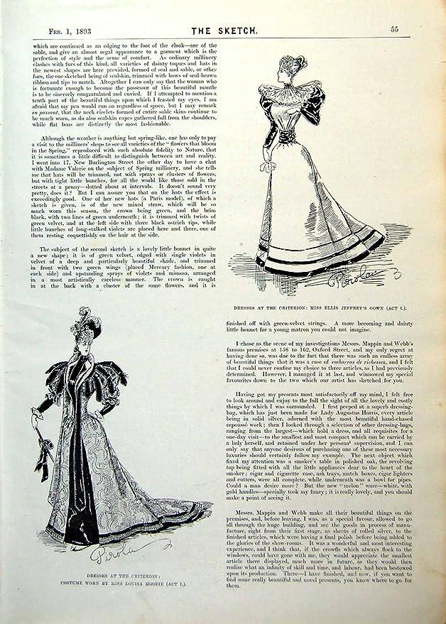 Los Vestidos Victorianos Antiguos Originales Viejos del Criterio de los Vestidos de la Impresión Actúan el Acto Ii Enson de la Capa de I 1893 055RG616: ...