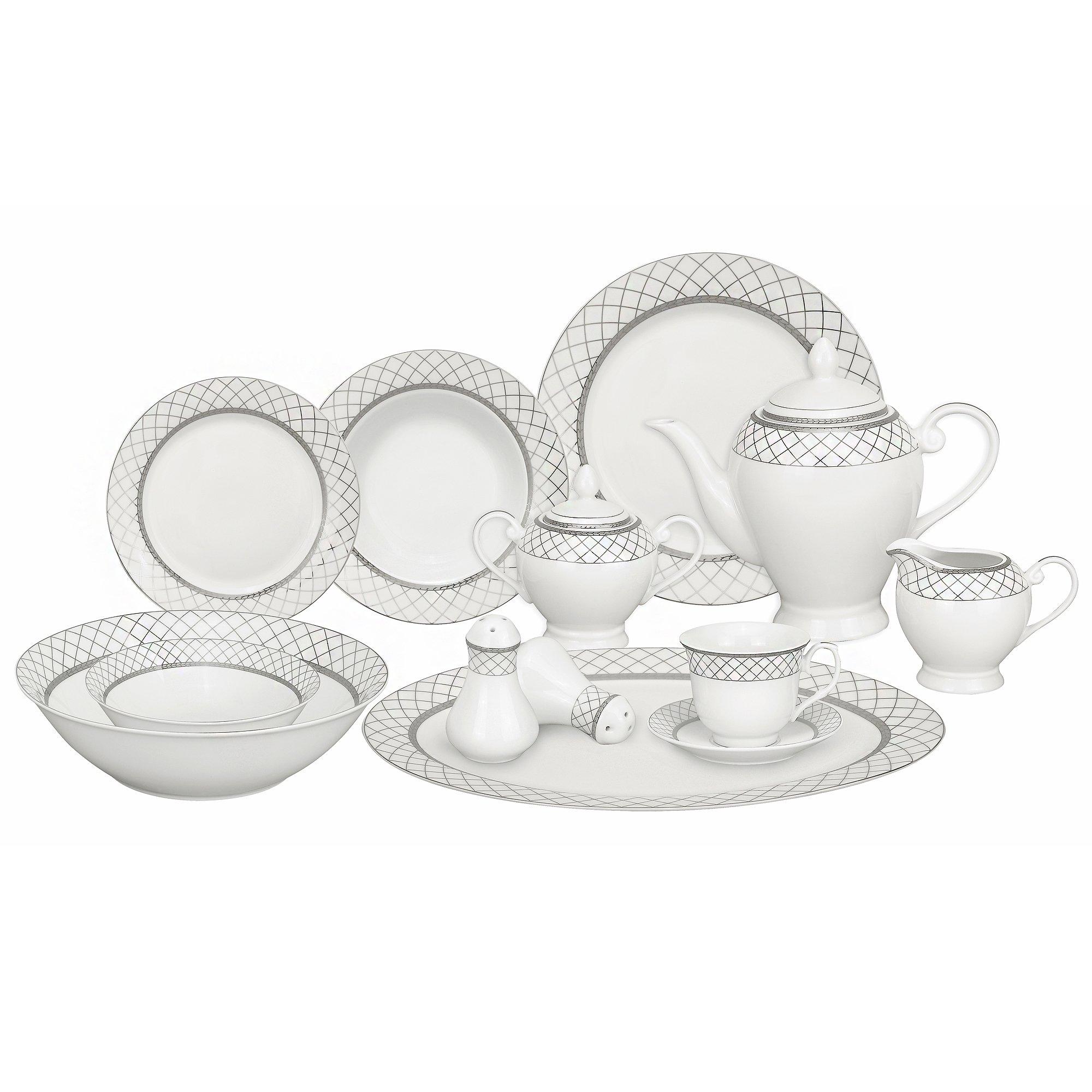 Lorren Home Trends 57-Piece Porcelain Dinnerware Set, Verona, Service for 8