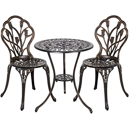 Amazon best choice products cast aluminum patio bistro best choice products cast aluminum patio bistro furniture set in antique copper watchthetrailerfo