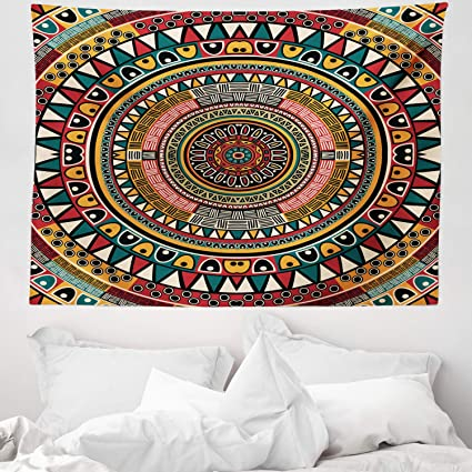 Abakuhaus Tribal Tapestry African Folkloric Tribe Round Pattern With Ethnic Colors Aztec Artwork Fabric Wall Hanging Decor For Bedroom Living Room Dorm 58 W X 43 L Jade Ruby And Mustard Amazon Co Uk